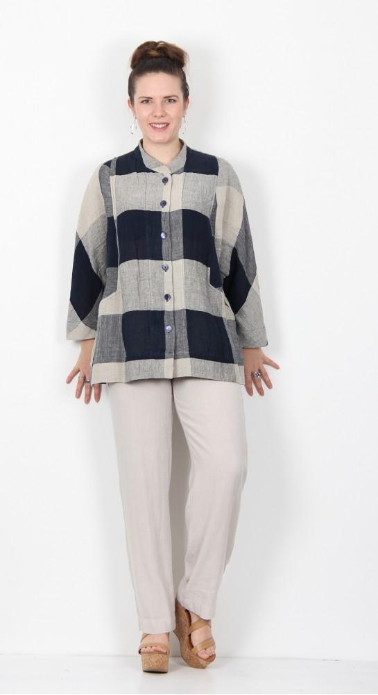 Sahara Clothing Stripe & Check Linen Shirt Night Oyster