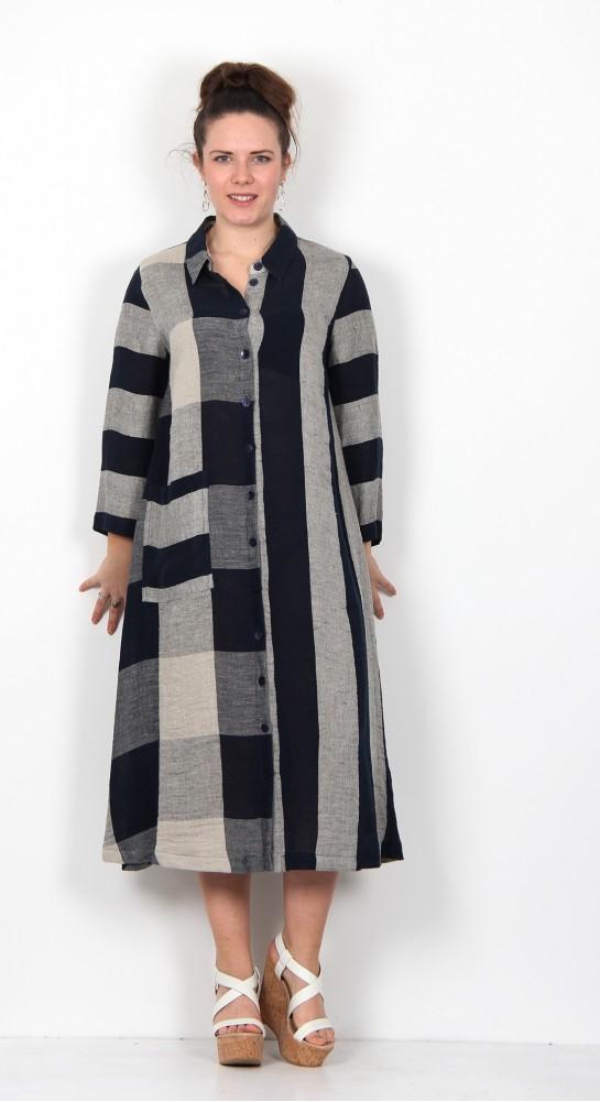 Sahara Clothing Stripe & Check Linen Dress Night Oyster