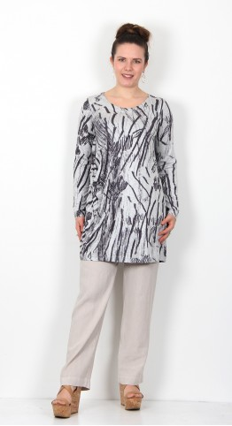 Sahara Clothing Charcoal Print Jersey Tunic Dove/Charcoal