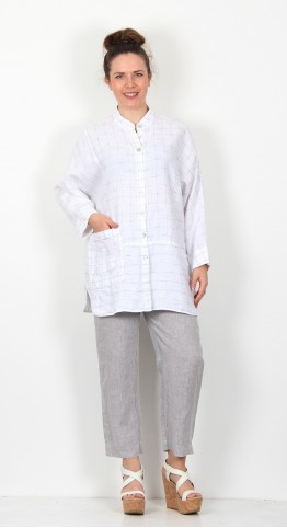Sahara Clothing Patched Twisted Yarn Shirt White