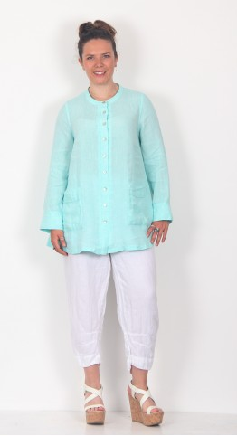 Sahara Clothing Chambray Linen Flared Shirt Aqua