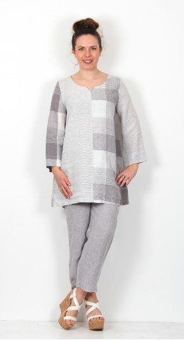 Sahara Clothing Giant Check Patched Tunic Smoke White