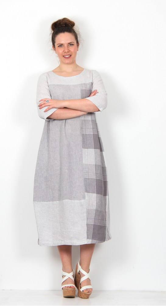 Sahara Clothing Giant Check Patched Dress Smoke White
