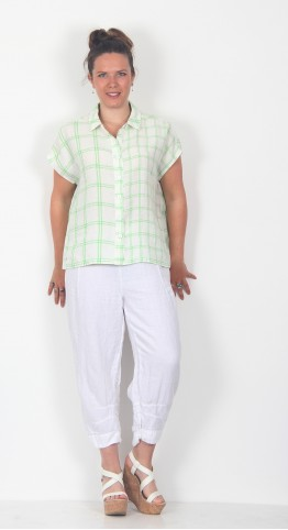 Sahara Clothing Patched Check Linen Shirt White Apple