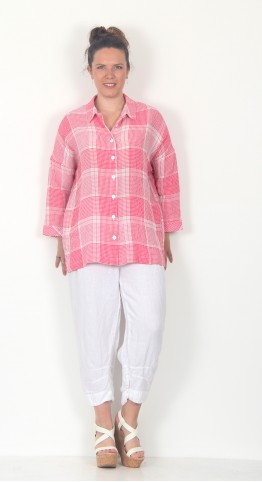 Sahara Clothing Seersucker Grid Check Shirt Cerise White