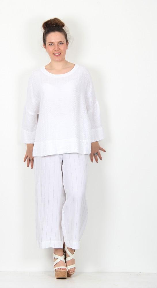 Sahara Clothing Waffle Linen Boxy Top White