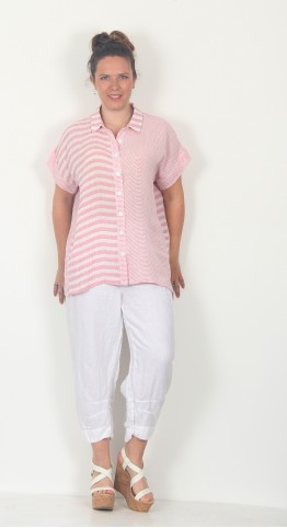 Sahara Clothing Seersucker Stripe Shirt White Powder