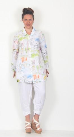 Sahara Clothing Linen Riviera Print Shirt Multi