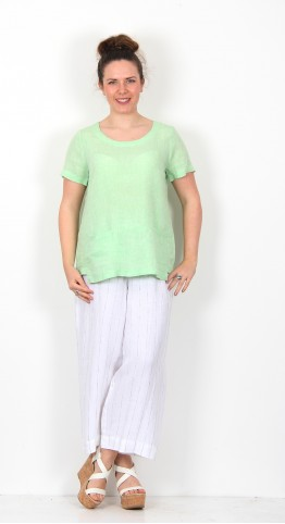 Sahara Clothing Organza Linen Step Hem Top Apple
