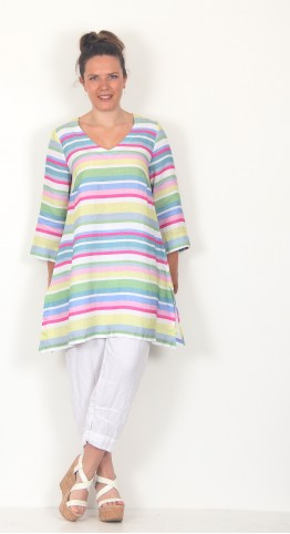 Sahara Clothing Rainbow Stripe Flared Linen Tunic Multi