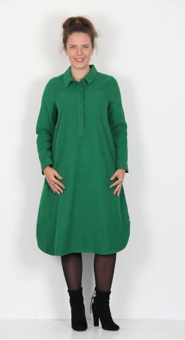 Sahara Clothing Cotton Babycord Shirt Dress Emerald