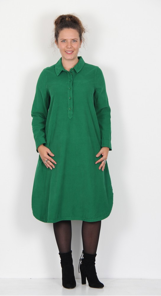 Sahara Clothing Cotton Babycord Shirt Dress Emerald