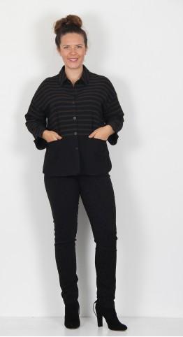 Sahara Clothing Running Stitch Stripe Shirt Black/Spice