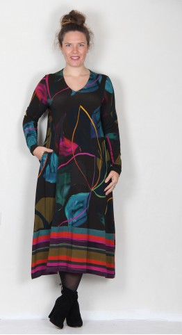 Sahara Clothing Abstract Petal Print Dress Multi