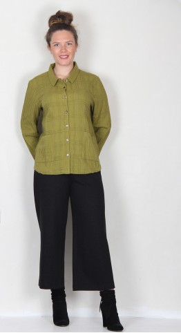 Sahara Clothing Soft Cotton Pintuck Shirt Lichen