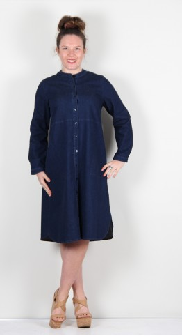 Sahara Clothing Stretch Denim Shirt Dress