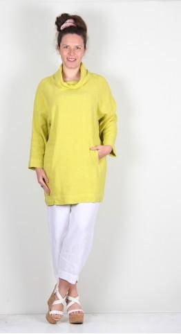 Sahara Clothing Textured Linen Cowl Tunic Chartreuse
