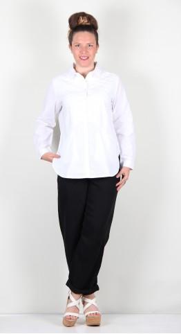 Sahara Clothing Pintuck Cotton Chevron Shirt White