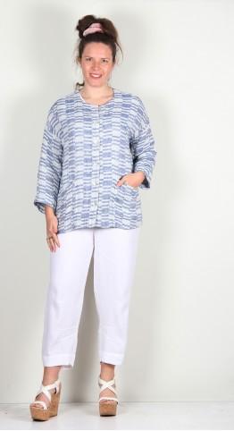 Sahara Clothing Irregular Check Linen Jacket Atlantic/white