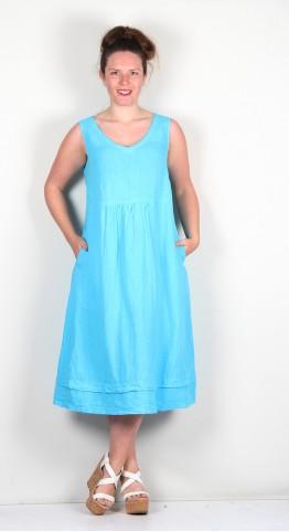 Sahara Clothing Organza Linen Sleeveless Dress Pacific