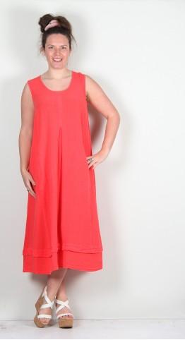 Sahara Clothing Light Crinkle Linen Dress Hibiscus