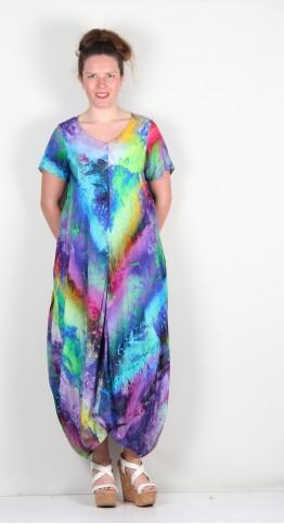 Sahara Clothing Vivid Cosmos Print Dress Multi