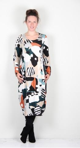 Sahara Clothing Abstract Print Bubble Dress Multi