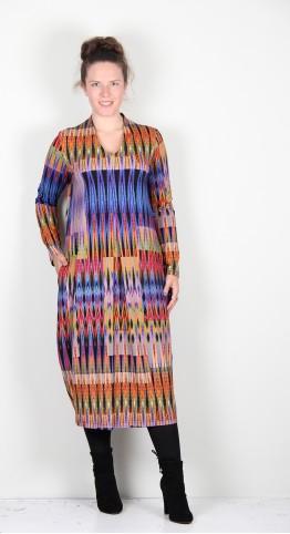 Sahara Clothing Jersey Ikat Print Bubble Dress Multi