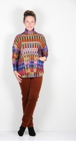 Sahara Clothing Jersey Ikat Print Cowl Top Multi