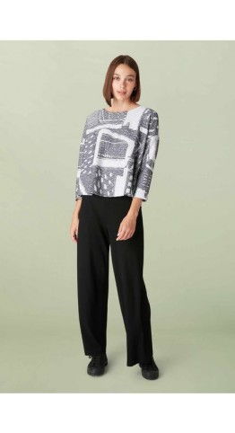 Sahara Clothing Graphic Ripple Jersey Top Slate/Silver