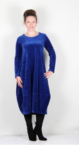 Sahara Clothing Velvet Jersey Bubble Dress Lapis