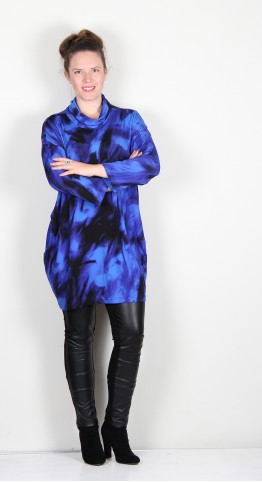 Sahara Clothing Blue Ocean Print Tunic Lapis/Black