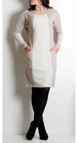 Sandwich Clothing Two Tone Jersey Dress Oatmeal