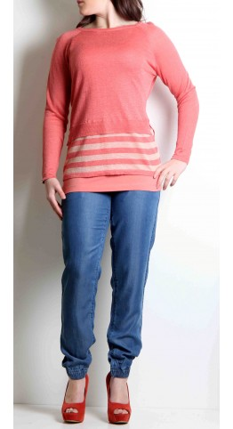 Sandwich Clothing Layered Pullover Coral