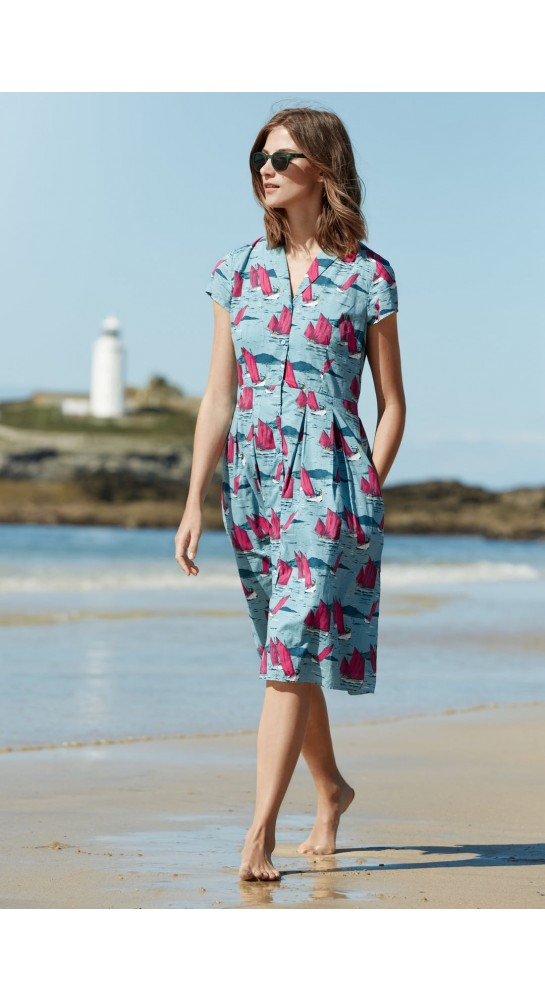 Seasalt Clothing Brenda Dress Jumbo Boats Watercress