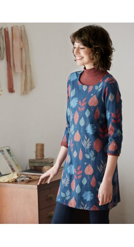 Seasalt Clothing Rocky Path Tunic Pressed Leaves Harbour