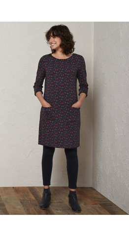 Seasalt Clothing Print Makers Dress Sketched Spots Dark Night