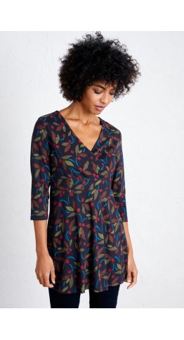 Seasalt Clothing Marram Grass Tunic Textured Berries Dark Night