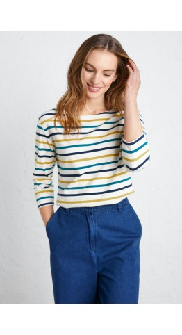 Seasalt Clothing Sailor Top Tri Breton Harbour Dune