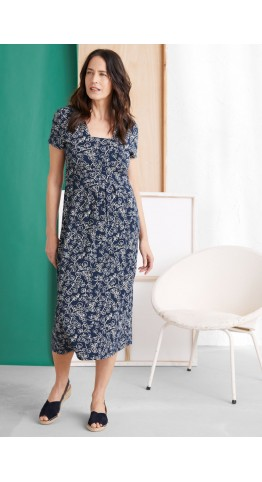 Seasalt Clothing Short-sleeved Seed Packet Dress Trailing Vine Harbour