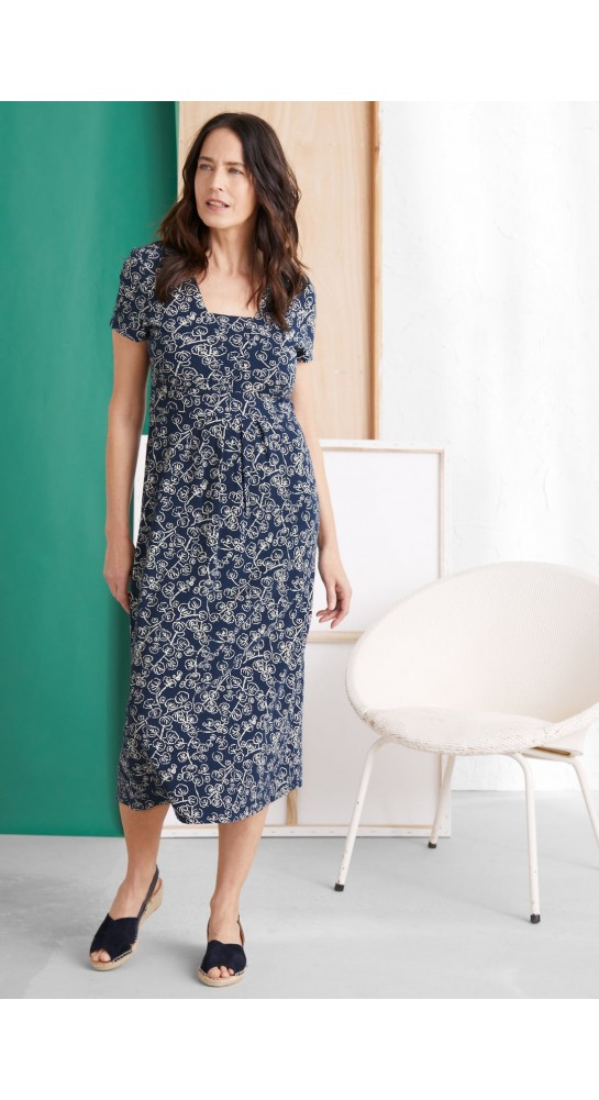 Seasalt Clothing Short-sleeved Seed Packet Dress Trailing Vine Harbour