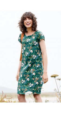 Seasalt Clothing River Cove Dress Pastel Foliage Watson Green