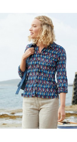 Seasalt Clothing Larissa Shirt Schooling Fish Midnight