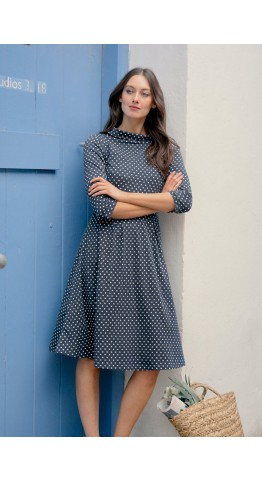 Seasalt Clothing Carn Morval Dress Polka Dot Harbour