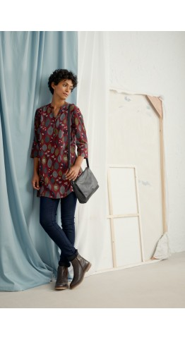 Seasalt Clothing South Terrace Tunic  Printed Leaves Mahogany