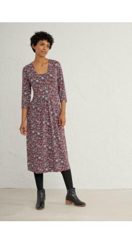 Seasalt Clothing Seed Packet Dress Linear Seed Head Mahogany
