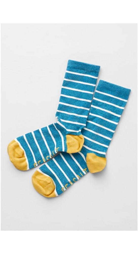 Seasalt Clothing Sailor Socks Breton Melange Teal