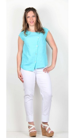 Shepards Linen Asymetric Button Top Aqua