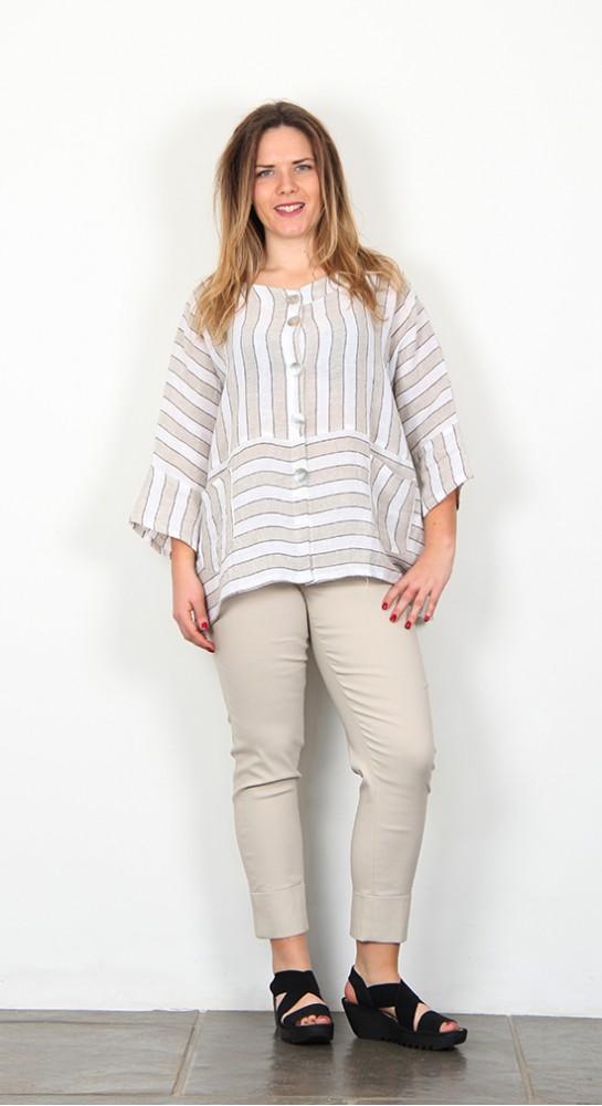 Shepards Linen Jacket Natural Stripe