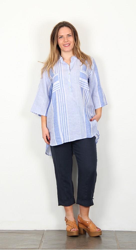 Shepards Linen Shirt Blue White Stripe